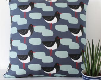 Dark Blue Oystercatcher Bird Print Cushion Cover Pillow Sham Decorative Throw Pillow