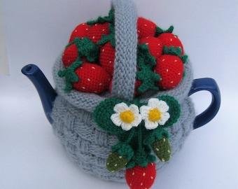 "Tea cozy.Tea cosy. Teapot cosy. Crochet tea cozy. Knitted tea cosy. Tea Party. Tea Gifts .Tea cosies ""Basket with strawberries"". Tea cozies."