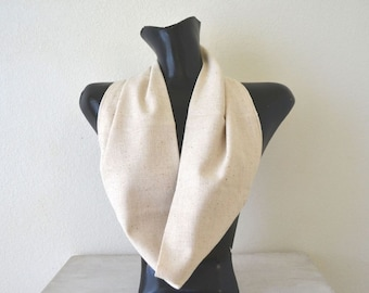 Cotton Cowl Scarf Cream Beige Snug Fit Scarf Vintage Eco Friendly Fabric Infinity Scarf Kids / Adult Small