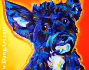 Yorkipoo, Pet Portrait, DawgArt, Dog Art, Pet Portrait Artist, Colorful Pet Portrait, Yorkipoo Art, Pet Portrait Painting, Art Prints