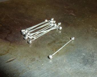10 Fine Silver Twists  - 26 Gauge - Double Headpin - Barbell - Handmade Choose your Length