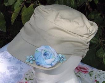Ladies Cottage Chic Khaki Cadet Hat