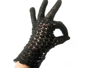 Vintage Sheer LACE Knit Evening GLOVES in Jet BLACK / Short Gloves / Peignoir / Bride to Be Gift / Rockabilly Pin Up / Made in Italy