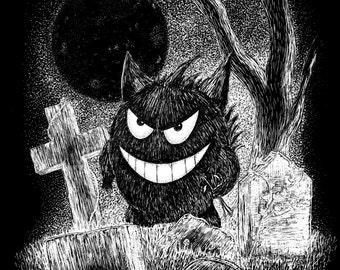 Gengar- A3 pokemon inspired art print by Jon Turner- cute geeky artwork- FREE WORLDWIDE SHIPPING