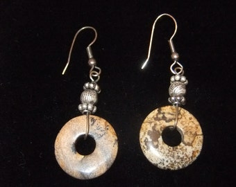 Bohemian Pewter and Natural Stone Disc Earrings, Estate Find