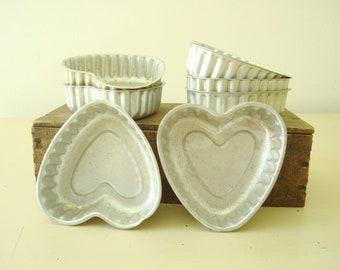 Heart shaped tart or jello molds, vintage set of 7 aluminum baking tins, vintage baking supplies, holiday treats, Valentine's Day desserts