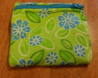 Coin Purse / Blue and Green Floral Print