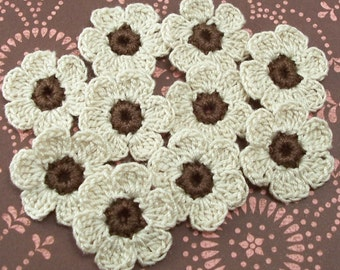 Crochet Natural Flowers - Brown Centers