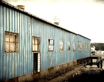 CLEARANCE  Ocean industrial Art Blue Boathouse Boothbay Harbor Maine New England 5x7 Inch Fine Art Photography Print -Blue Harbour