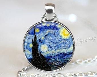 Van Gogh STARRY NIGHT Pendant, Starry Night Necklace, Starry Night Keychain, Van Gogh Fine Art Jewelry, Starry Night Jewelry, Moon and Stars
