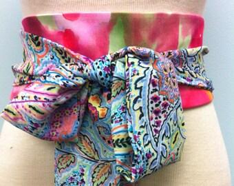 Reversible cotton Obi belt sash pink green orange watercolor  waist cincher