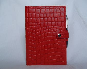 Real Leather Red A5 Notebook Cover/Diary Cover/Journal Cover complete with Notebook .