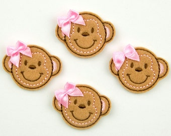 MONKEY - Embroidered Felt Embellishments / Appliques - Tan  (Qnty of 4) SCF6170