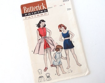 Vintage 1950's Girls' Sewing Pattern for Shorts, Top and Tie On Skirt, Butterick 6553, Size 4, Chest 23 Inches