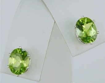 Memorial Day Sale Peridot Stud Earrings Sterling Silver 8x6mm Oval 2.70ctw Natural Untreated