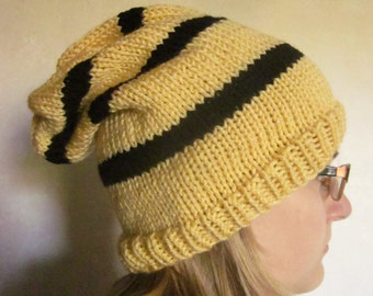 Wizard House Color Hat - Knit Slouch HatYellow-Black