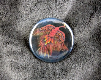 Creature of Fire-- Firebird pinback button or magnet