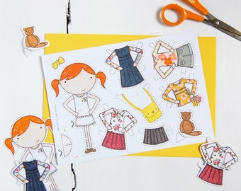 Paper Doll - Clara Signature Outfits - Paper Doll Dress Up Card – Paper Toy – Dress-up Doll Activity – Kid's School Holiday Craft Gift