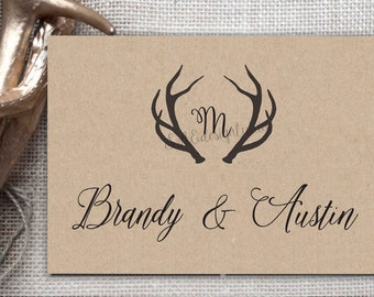 Rustic Deer Antlers Horns Hunting Kraft Wedding Thank You Cards Notes Postcards Cards Rustic Brown recycled inexpensive affordable