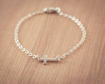 Small Sideways Cross bracelet, Sterling Silver Cross Bracelet, Cross Bracelet, Petite Cross, Religious Jewelry, Celebrity Inspired