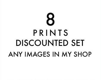 set of 8 fine art prints, any images in my shop printed, discounted set, 12x12 5x5, 11x14, photography prints, nursery wall art, your choice