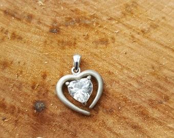 STERLING CZ heart pendant