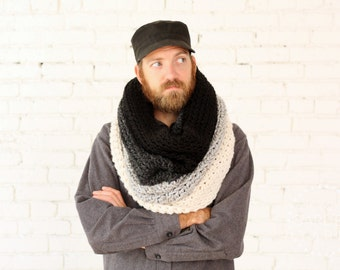 The Ombré Cowl | SMOKE | Mens Chunky Knit Ombré Oversized Huge Textured Winter Cowl Scarf