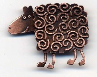 Swirly Sheep copper finish brooch