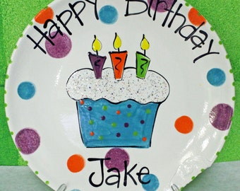 Hand Painted Ceramic Birthday Plate