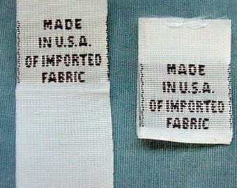 100 pcs White Woven Clothing Labels, Care Label - Made in USA of Imported Fabric