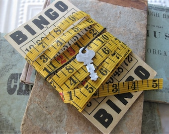 Vintage Carpenters Measuring Tape, 2 Yards, for Altered Art, Rustic Black and Red Numbers - on Vintage Bingo Card with Keys