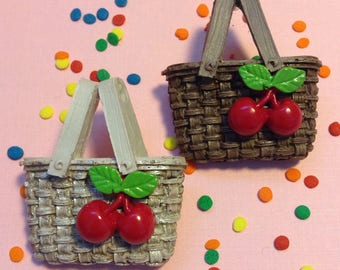 Cherry Basket Brooch - Picnic Camping Glamping Fruit Pin Up Vintage 50s Inspired Novelty Jewelry - Fakelite Resin Plastic Handcast