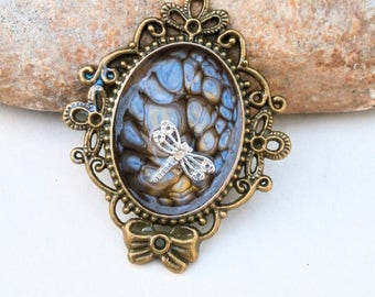 handpainted pendant,blue frame, diy, dragonfly pendant