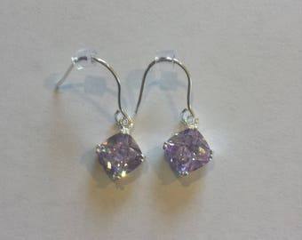 Checkerboard Cut Lavender CZ Earrings