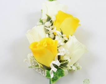 Artificial Wedding Flowers, Yellow & Ivory Rose Wrist Corsage