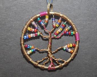 Assorted Beads Tree of Life Pendant