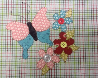 Garden Butterfly Applique PDF Pattern for Tea Towel