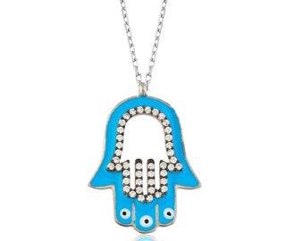 Blue Enamel Pendant Silver Fatima's Hand - IJ1-1594