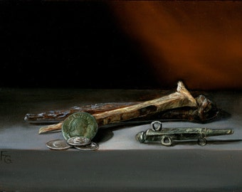 Original Oil Painting, Still Life, Roman Artifacts