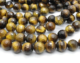 19 Tiger eye 10 mm has natural facets with faceted brown beige