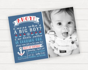 Nautical Birthday Invitation, Sailing Birthday, Nautical 1st Birthday, Nautical Invitation, Anchor Birthday, Boy 1st Birthday Invitation