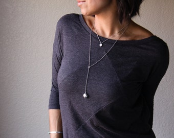 "Dainty sterling silver lariat necklace w/ a handmade solitary silver bead dangling from a y drop chain design - ""Token Drop Lariat Necklace"""