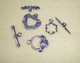 Three Silver Plated Toggle Clasps with Swarovski Crystals, AB Aurora Borealis Crystals, rose toggle clasp, heart toggle clasp