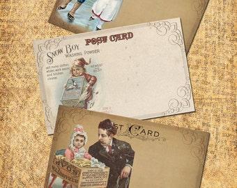 Winter Vintage  Post Cards Christmas  Printable  Digital Download