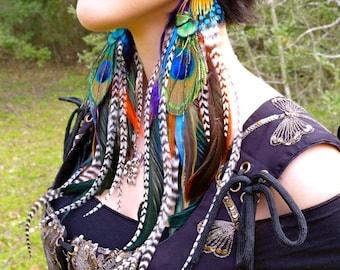 GYPSY QUEEN Long Feather Earrings