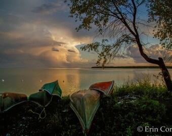 Sunset Over Lake Manitoba Print, Canoe Print, Sunset Photography, Nature Photography,