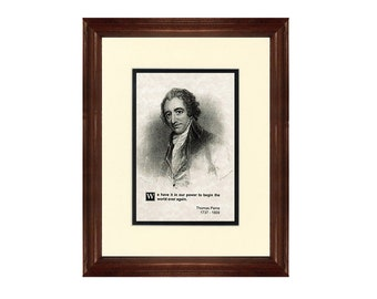 Print and Quotation of Thomas Paine with Mat and Frame
