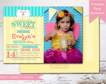 Sweet Shoppe Sweet Shop Candy Shop Birthday Party Invitation- Print Your Own