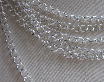 Silver Plated Curb Chain 3mm by 4mm 5 feet (152 cm) SC34M