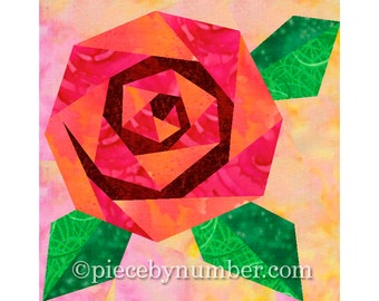 Rosie's Rose quilt block, rose quilt patterns, paper piecing quilt patterns, flower quilt patterns, rose patterns, PDF pattern, blossom